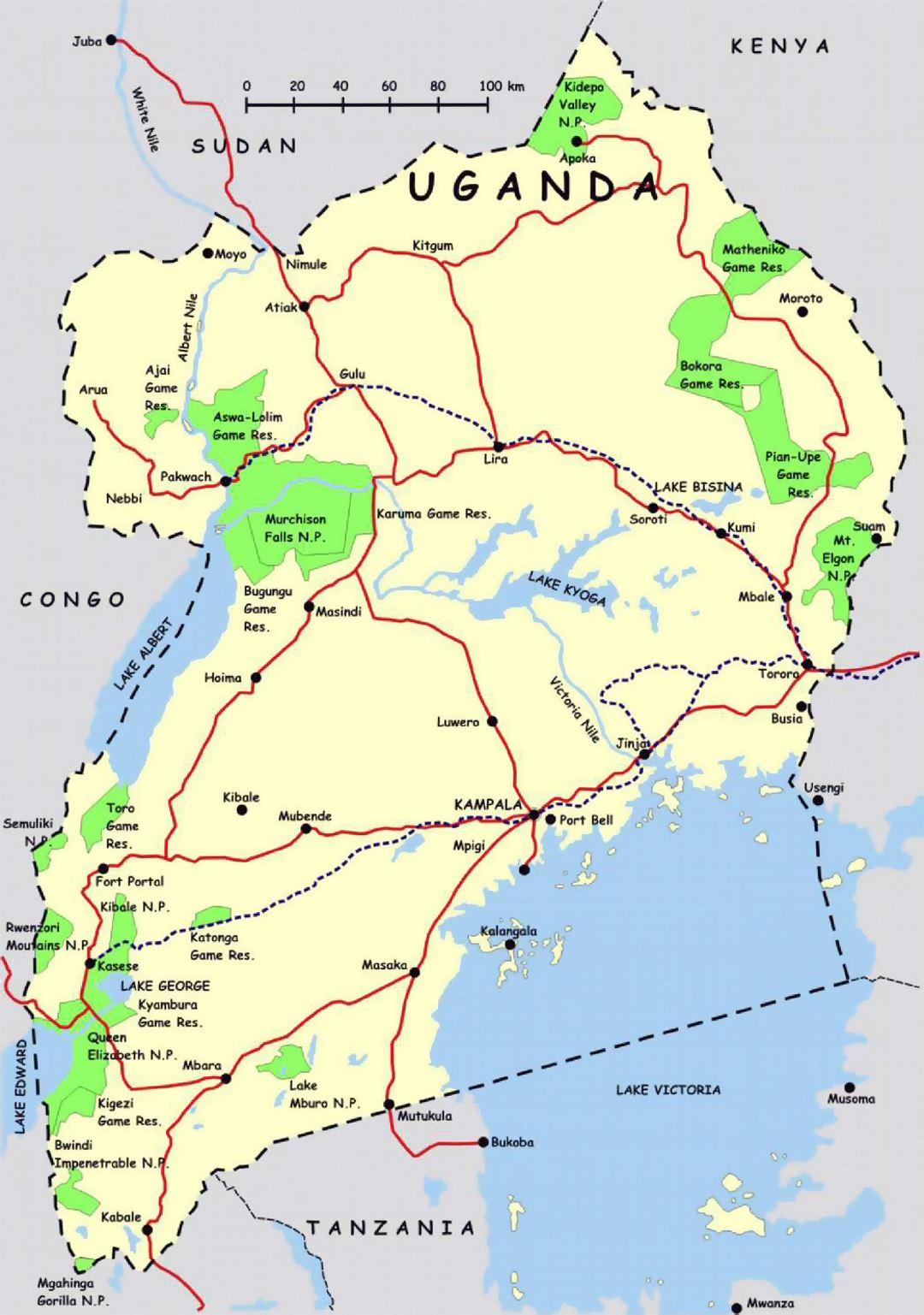 map of uganda, uganda national parks, uganda